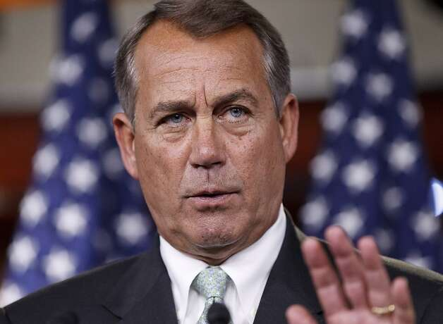 House Speaker John Boehner of Ohio, talks to reporters  on Capitol Hill in Washington, March 1, 2012, about his lunch meeting yesterday with President Barack Obama, especially focusing on rising gas prices. Boehner also spoke on the Blunt amendment being voted on today in the Senate. Sen. Roy Blunt, R-Mo., has proposed a controversial amendment to the Senate transportation bill which would potentially override President Obama's contraception coverage rule for religious or moral reasons. Photo: J. Scott Applewhite, Associated Press