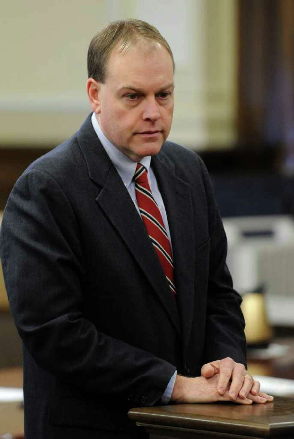 Edward McDonough appears in court before final summations in his ballot fraud case in the Rensselaer County Courthouse in Troy, N.Y. March 2. 2012. (Skip Dickstein / Times Union)