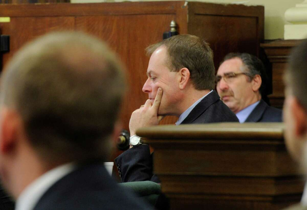 Co-defendants Edward McDonough and Michael LoPorto listen to summations in their ballot fraud case in the Rensselaer County Courthouse in Troy, N.Y. March 2. 2012. (Skip Dickstein / Times Union archive)