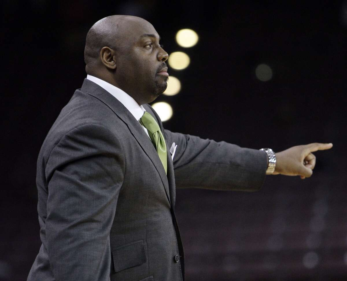 TSU head coach Tony B. Harvey calls out a play in the second half during a NCAA basketball game between TSU and Mississippi Valley State Monday, Feb. 21, 2011. TSU won 58-55 in overtime.