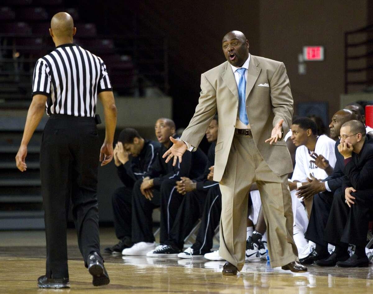 Texas Southern coach Tony Harvey, right, leaves TSU with a 56-72 record.