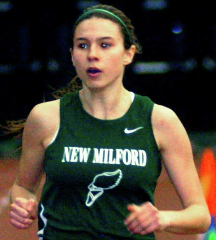 SPECTRUM/Lindsay Guptill of the Green Wave is competing with 4 x 400-meter relay teammates Meghan Dietter, Sierra Grazia and Helen Bayers in New England and national meets. March 2, 2012 Photo: Norm Cummings