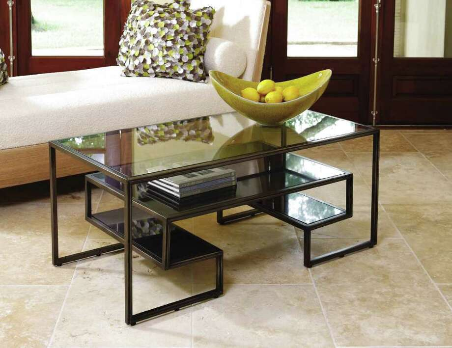 Global Views' multitiered coffee table offers storage. Photo: Courtesy Global Views