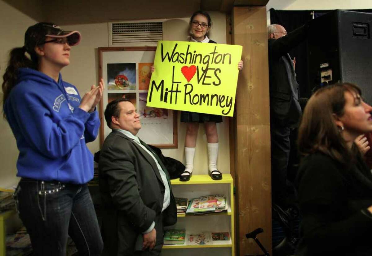 Supporters gather for U.S. presidential candidate Mitt Romney at Highland Park Community Center on Friday, March 2, 2012 in Bellevue. Romney made the appearance one day before Saturday's Republican caucus to decide the nominee for president.