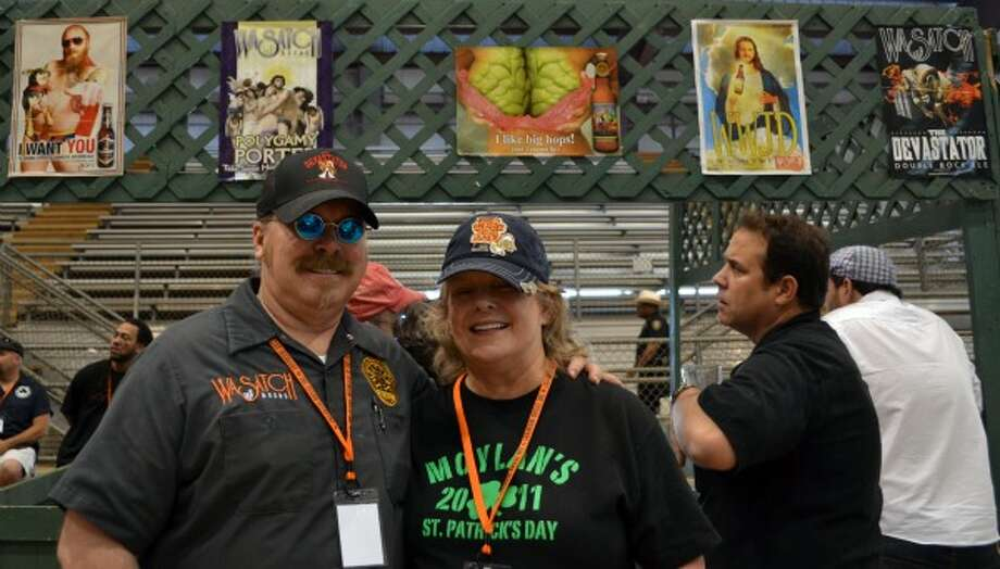 Mark Cleveland of Utah Brewers Cooperative and local distributor Charlotte Rowell of Duff. (Ronnie Crocker / Beer, TX)