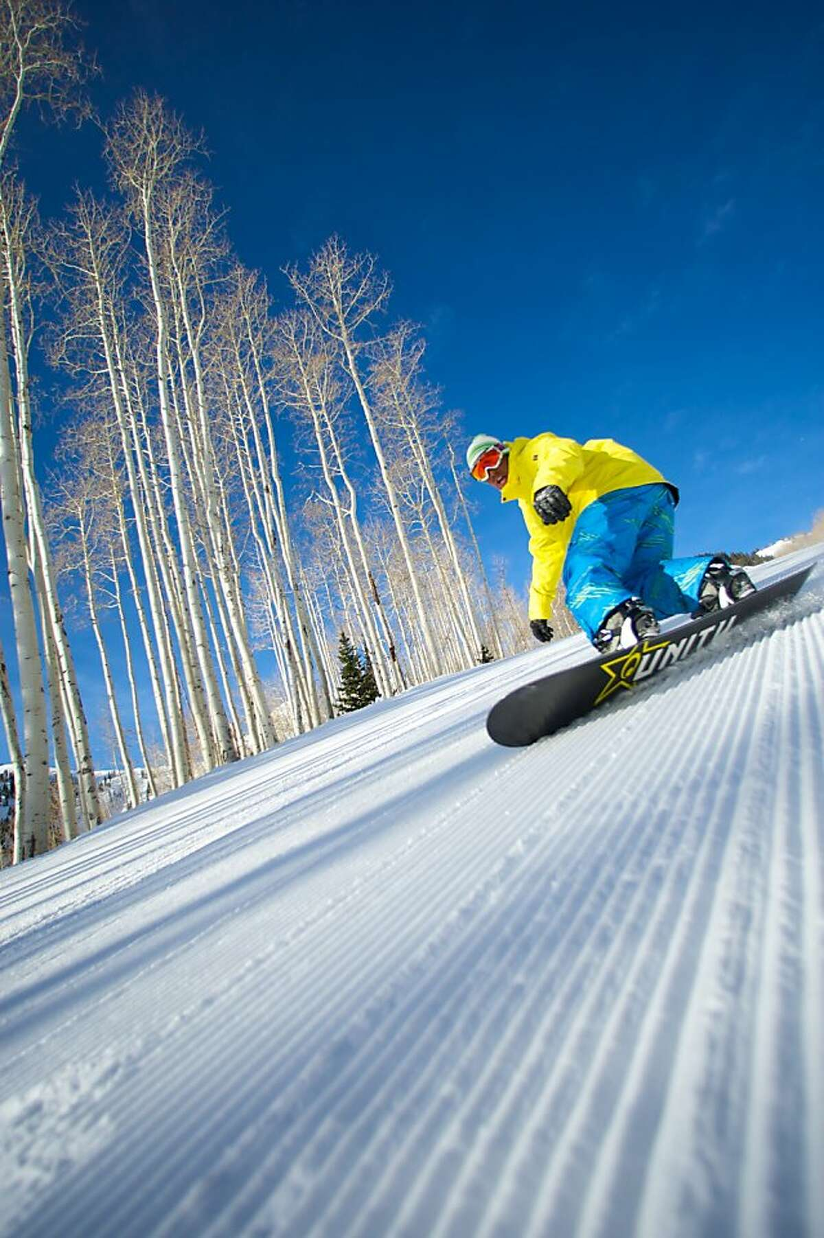 Snowboarding at Canyons Resort, Utah.