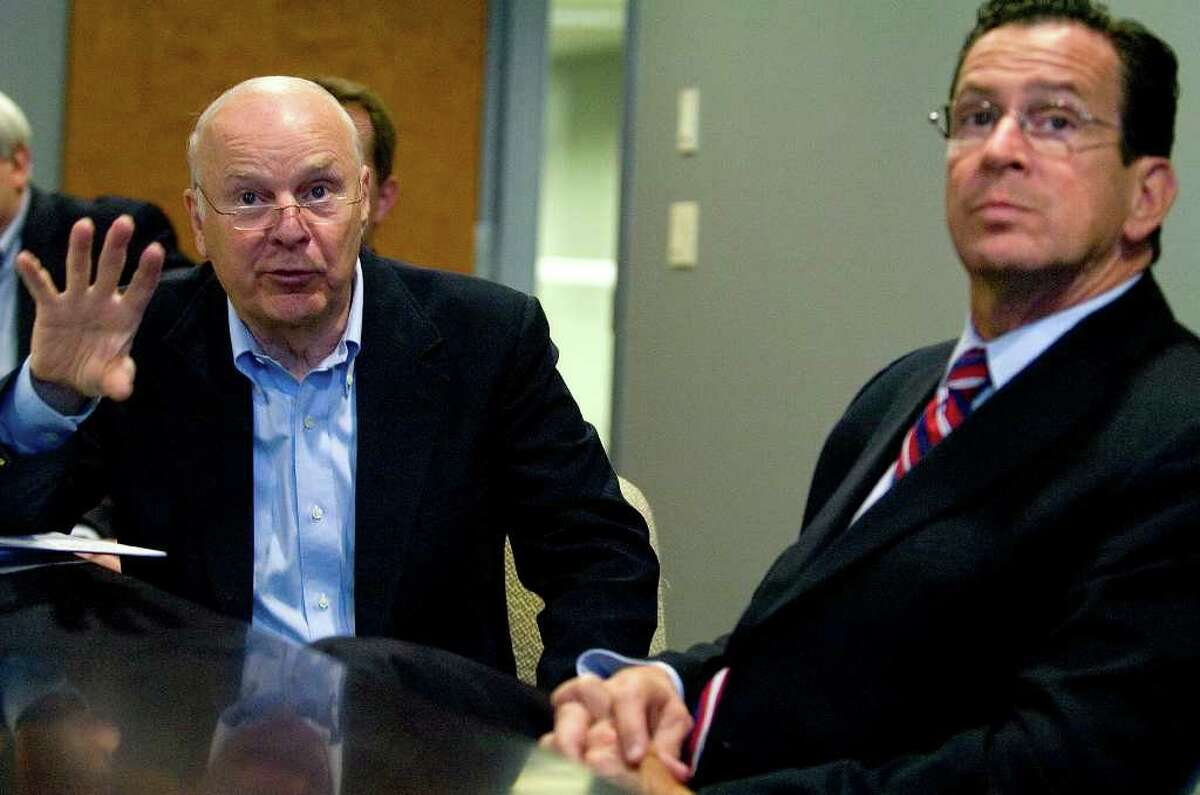 William Joyce, CEO of Advanced Fusion Systems, gives a presentation to Gov. Dannel P. Malloy at the AFS facility in Newtown in October of last year.