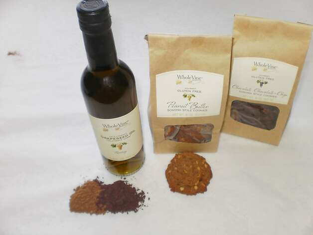 Whole Vine products: grapeseed flours, Riesling culinary/grapeseed oil, peanut butter gluten-free and chocolate chocolate-chip gluten-free cookies Photo: Lynne Char Bennett, SF Chron