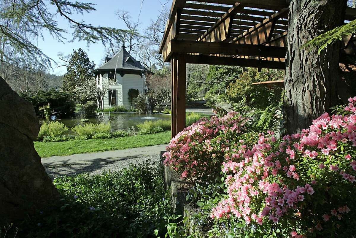 Azaleas and a large fountain frame the Octagon House, the original Ross family pumphouse, in the J. Boatner Chamberlain Memorial Arbor and Garden at the Marin Art and Garden Center.