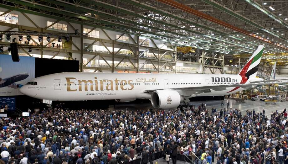 Boeing celebrates delivery of its 1,000th 777, a 777-300ER for Emirates airline, on March 2, 2012. Photo: The Boeing Co.