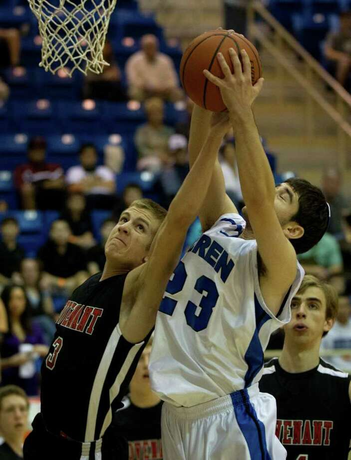 Beren Academy's Ahron Guttman (23) fights for a rebound against Dallas Covenant forward Collin Teaster (3) during a TAPPS 2A state semifinal basketball game at Nolan Catholic High School on Friday, March 2, 2012, in Fort Worth.  Beren originally forfeited the game because it interfered with observance of the Jewish Sabbath. After a lawsuit, the time and location of the game was changed. Photo: Smiley N. Pool, Houston Chronicle / © 2012  Houston Chronicle