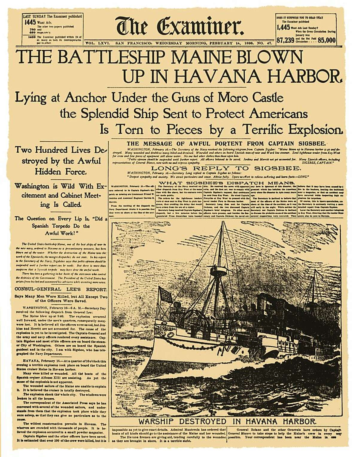 Front page of February 16, 1896 San Francisco Examiner, reporting the sinking of the battleship, Maine.
