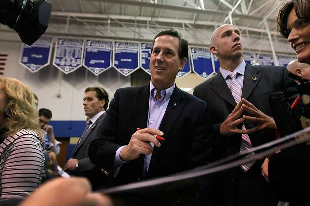 Republican presidential candidate, former U.S. Sen. Rick Santorum greets people during a campaign stop at Chillicothe High School on March 2, 2012 in Chillicothe, Ohio. The Republican Party continues the process of who will be their general election candidate against President Barack Obama in the fall. Photo: Joe Raedle, Getty Images