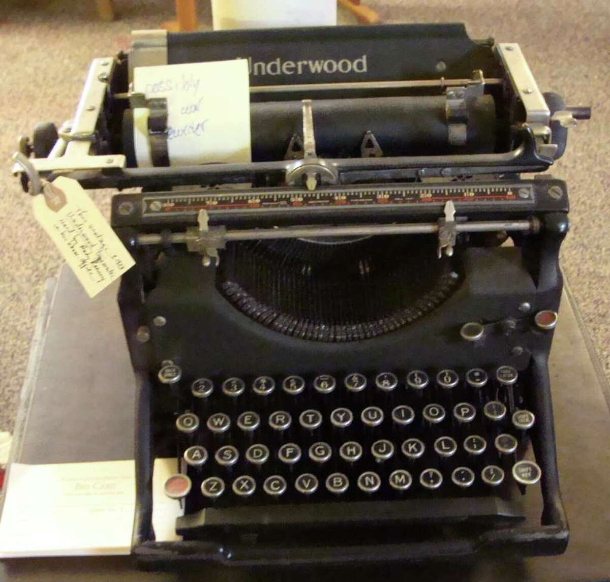 This Underwood typewriter, circa 1923, owned by veteran journalist and commentator Andy Rooney was among the items on sale Friday, the first day of a three-day estate sale at Rooney's home in the Rowayton section of Norwalk.