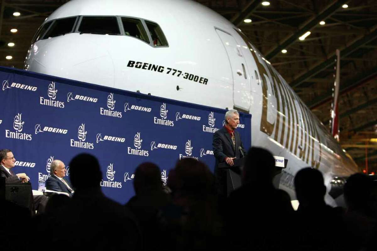 Larry Loftis, vice president and general manager of the 787 program speaks during a ceremony marking the completion of the 1,000th Boeing 777 at the assembly plant in Everett on Friday, March 2, 2012.