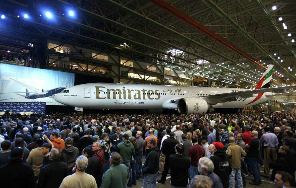 The 1,000th Boeing 777 destined for Emirates airlines is shown during a ceremony marking the completion of the 1,000th 777 at the assembly plant in Everett on Friday, March 2, 2012.