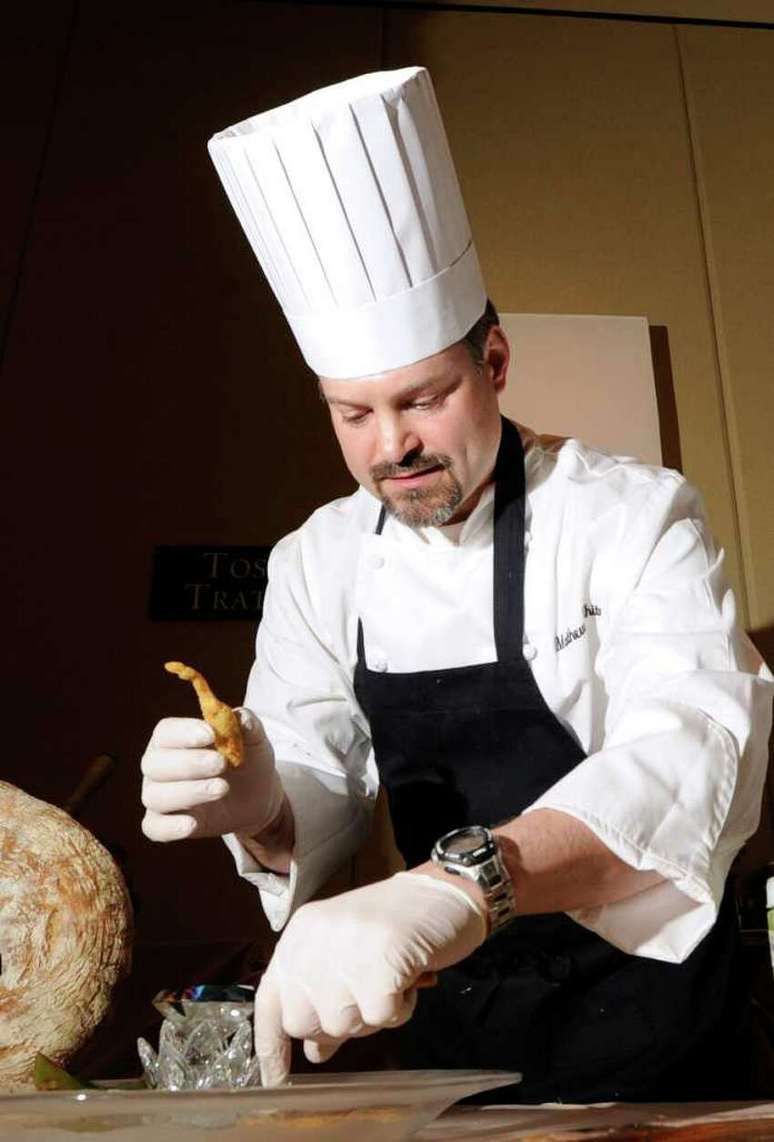 Chef Matthew White of Toscana Trattoria in Greenwich prepares crispy artichoke hors d'oeuvres during the 27th annual Great Chefs at Hyatt Regency Greenwich, Friday night, March 2, 2012.