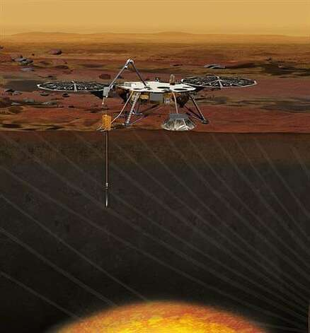 An artist's conception of the InSight Lander on Mars. Photo: -, NASA/JPL