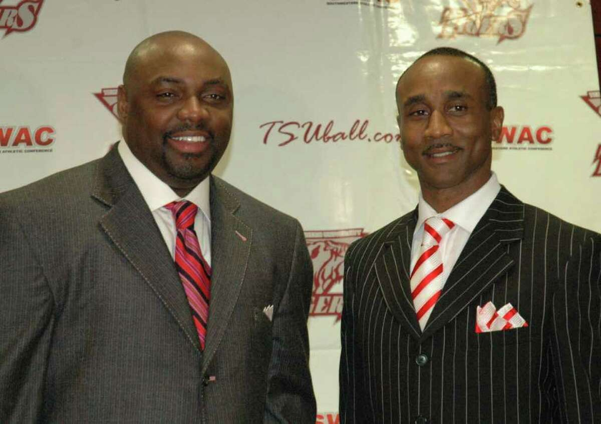 New Texas Southern basketball coach Tony Harvey, left, and interim athletic director Johnnie Cole April 4, 2008 photo courtesy of Texas Southern University