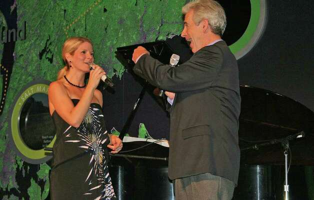 "Two-time Tony Award winner and Weston resident James Naughton and his daughter-in-law, three-time Tony Award nominee Kelli O'Hara, perform at the Maritime Aquarium ""FINtastic RefurbFISHment"" party in Norwalk Feb. 27. Photo: Contributed Photo / Greenwich Time Contributed"