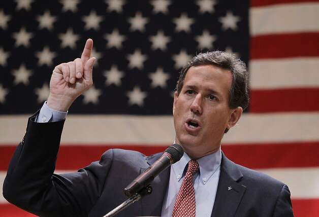 Republican presidential candidate, former Pennsylvania Sen. Rick Santorum speaks during a campaign stop at the Lake County Republican Party Lincoln Day Dinner, Friday, March 2, 2012, in Willoghby, Ohio. Photo: Eric Gay, Associated Press