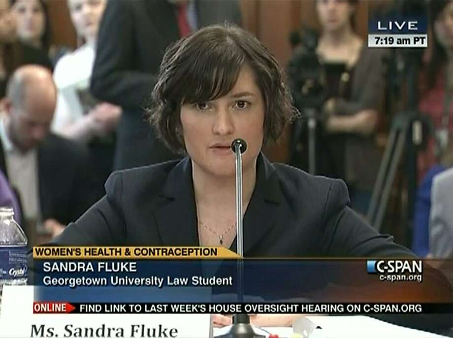 "In this image made from Thursday, Feb. 23, 2012 video provided by C-SPAN, Sandra Fluke, a third-year Georgetown University law student, testifies to Congress in Washington. Limbaugh drew fire Friday, March 2, 2012 from many directions for his depiction of Fluke as a ""slut"" because she testified before Congress about the need for contraceptive coverage. Photo: Associated Press"