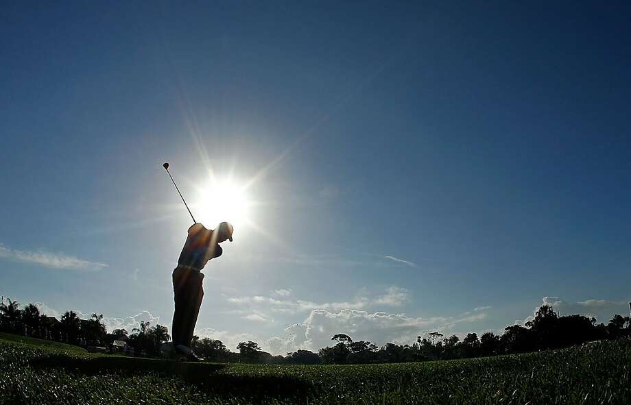 Tiger Woods hits his tee shot on the 12th hole during the second round of the Honda Classic at PGA National on March 2, 2012 in Palm Beach Gardens, Florida. Photo: Mike Ehrmann, Getty Images