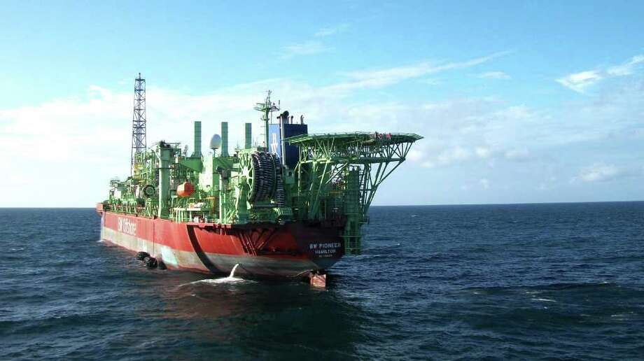 Brazil's Petrobras is using the B.W. Pioneer, a floating production, storage and offloading vessel, to pump oil from a deep-water well in the Gulf of Mexico and temporarily store it. Such ships can unhook from a well and move to avoid storms. / DirectToArchive