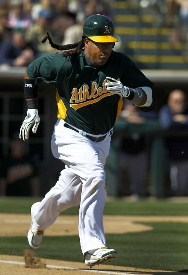 Designated hitter Manny Ramirez went 0-2 in the Oakland A's Cactus League spring training opener against the Seattle Mariners in Phoenix, Ariz. on Friday, March 2, 2012. Photo: Paul Chinn, The Chronicle