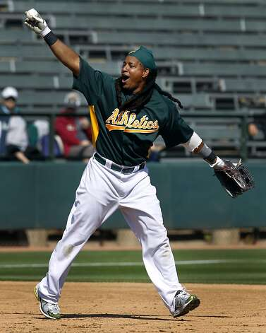 Manny Ramirez fields a grounder during batting practice before the Oakland A's Cactus League spring training opener against the Seattle Mariners in Phoenix, Ariz. on Friday, March 2, 2012. Photo: Paul Chinn, The Chronicle