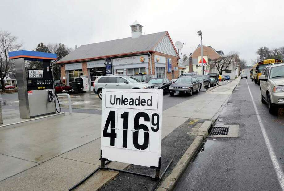 Regular gas advertised for $4.16 in front of the Riverside Service station at 370 E. Putnam Ave. in Cos Cob, Thursday afternoon March 1, 2012. Photo: Bob Luckey / Greenwich Time