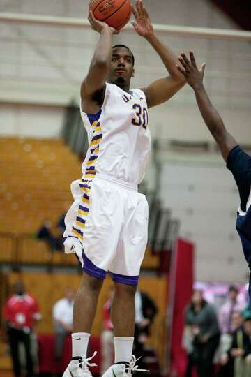 Jayson Guerrier of UAlbany nails down a second half jumper, during the America East Conference Tourn