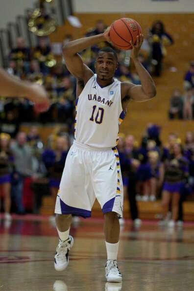 Mike Black (10) of UAlbany passes the ball to a teammate, during the America East Conference Tournam