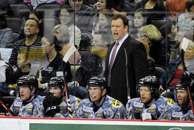 San Antonio Rampage head coach Chuck Weber yells to his players during the first period of an AHL hockey game against the Houston Aeros, Saturday, March 3, 2012, in San Antonio. Photo: Darren Abate, Darren Abate/pressphotointl.com / Darren Abate/pressphotointl.com