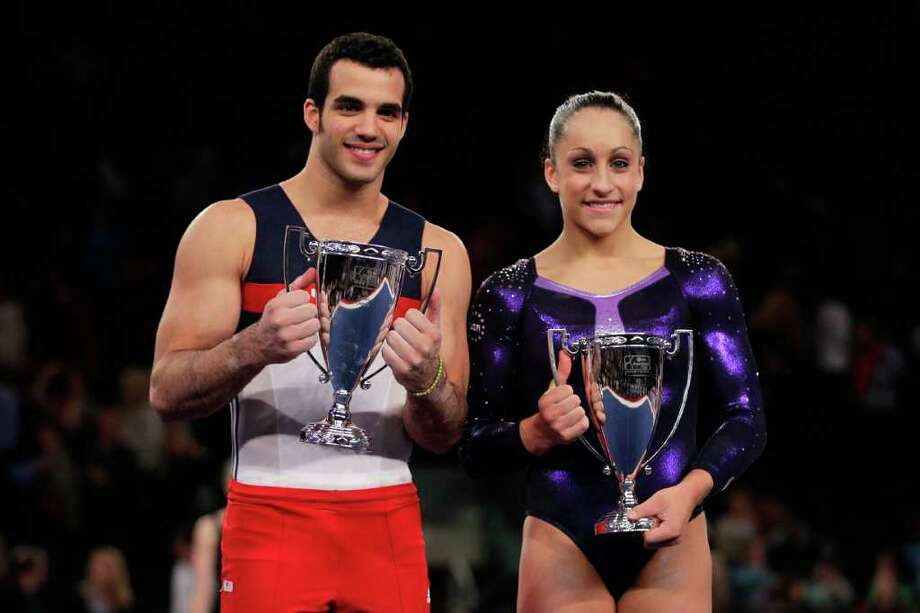 NEW YORK, NY - MARCH 03:  Danell Leyva (L) and Jordyn Wieber celebrate winning the men's and women's all-round titles at the 2012 AT&T American Cup at Madison Square Garden on March 3, 2012 in New York City.  (Photo by Chris Trotman/Getty Images) Photo: Chris Trotman / 2012 Getty Images