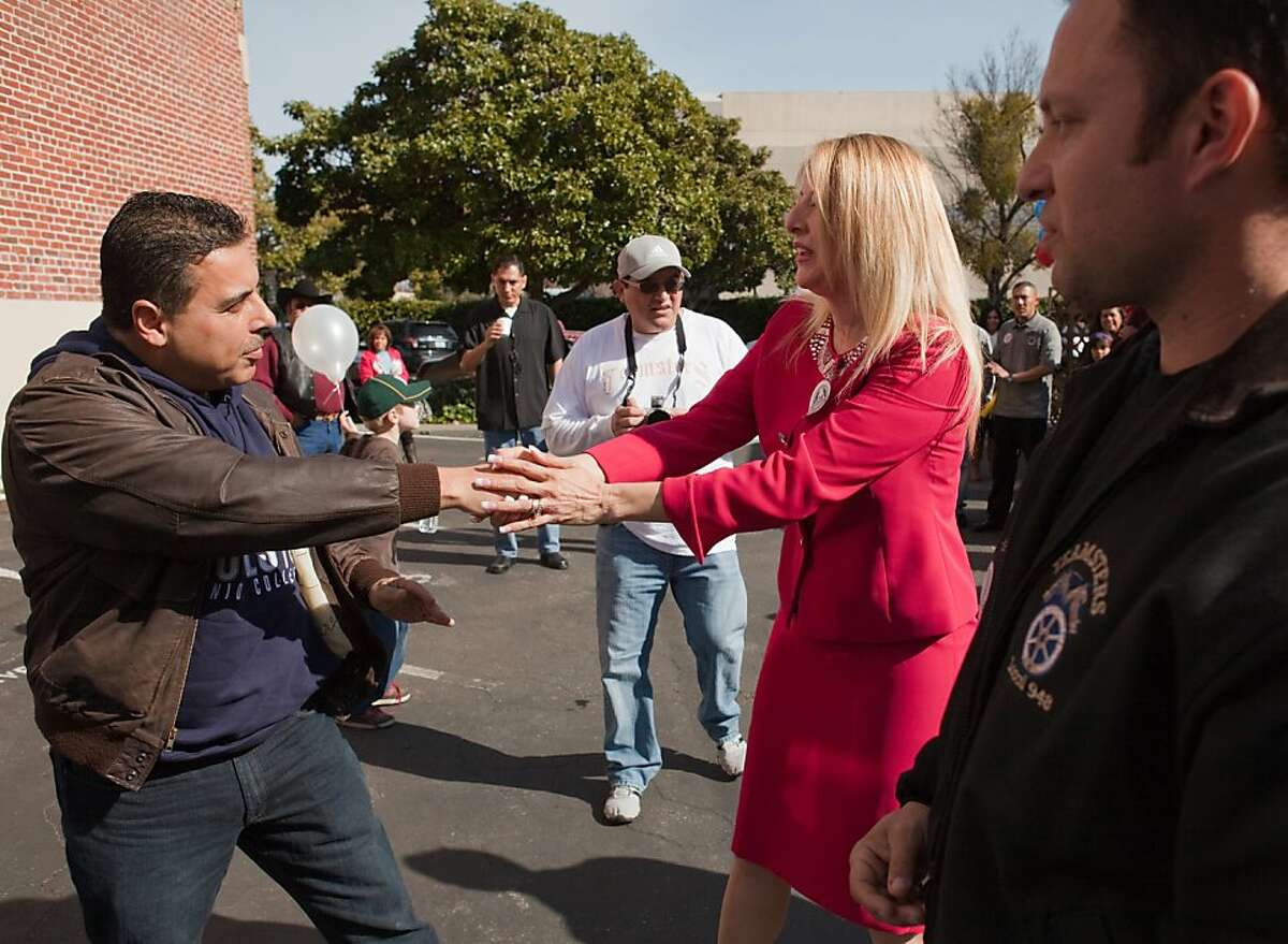 MODESTO,CA--José Hernández shakes hands with Maria Ashley Alvarado at a rally at Teamster's Union Local 948 supporting him in his bid for Congress in California's newly drawn 10th district as a democrat. As a child, Hernández helped his migrant farmworker parent's in the fields and was encouraged in his education. Hernández took education to the next level getting his M.S in Electrical and Computer Engineering. Hernández fulfilled his childhood dream of becoming an astronaut at NASA's Johnson Space Center in Houston, where he flew on the space shuttle Discovery's 128th mission. On the mission Hernández and his team transferred supplies and equipment to the space station and logged over 5.7 million miles on the shuttle.