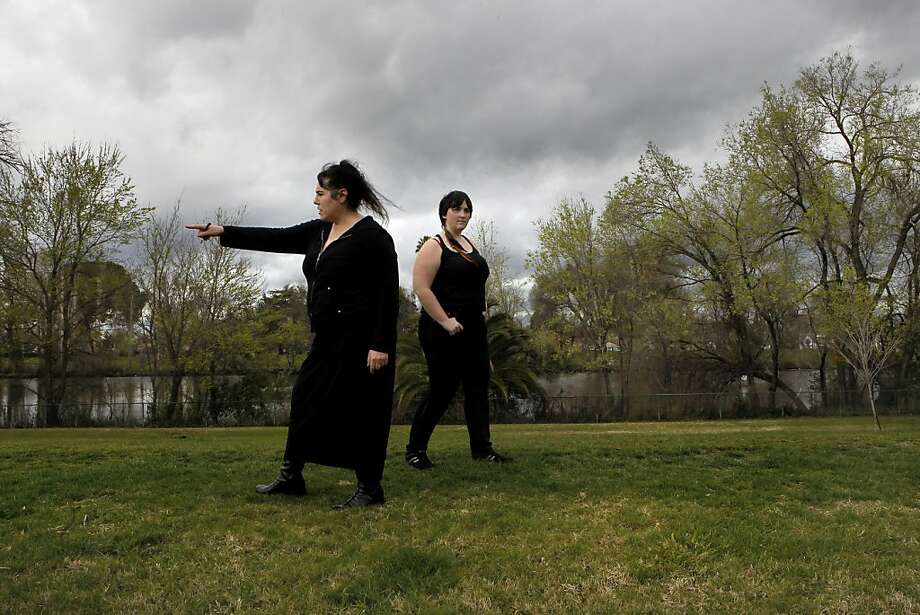 "Rhondda Nunes,(left) a neighborhood watch captain patrols the American Legion Park with friend Jessica ""Kitty"" Walter, in Stockton, Ca. on Thursday Mar. 1, 2012. The City of Stockton, Ca. could be the largest city in the country to file for bankruptcy after the city council voted Tuesday night to begin mediations with service unions and creditors as required by state law. Photo: Michael Macor, SFC"