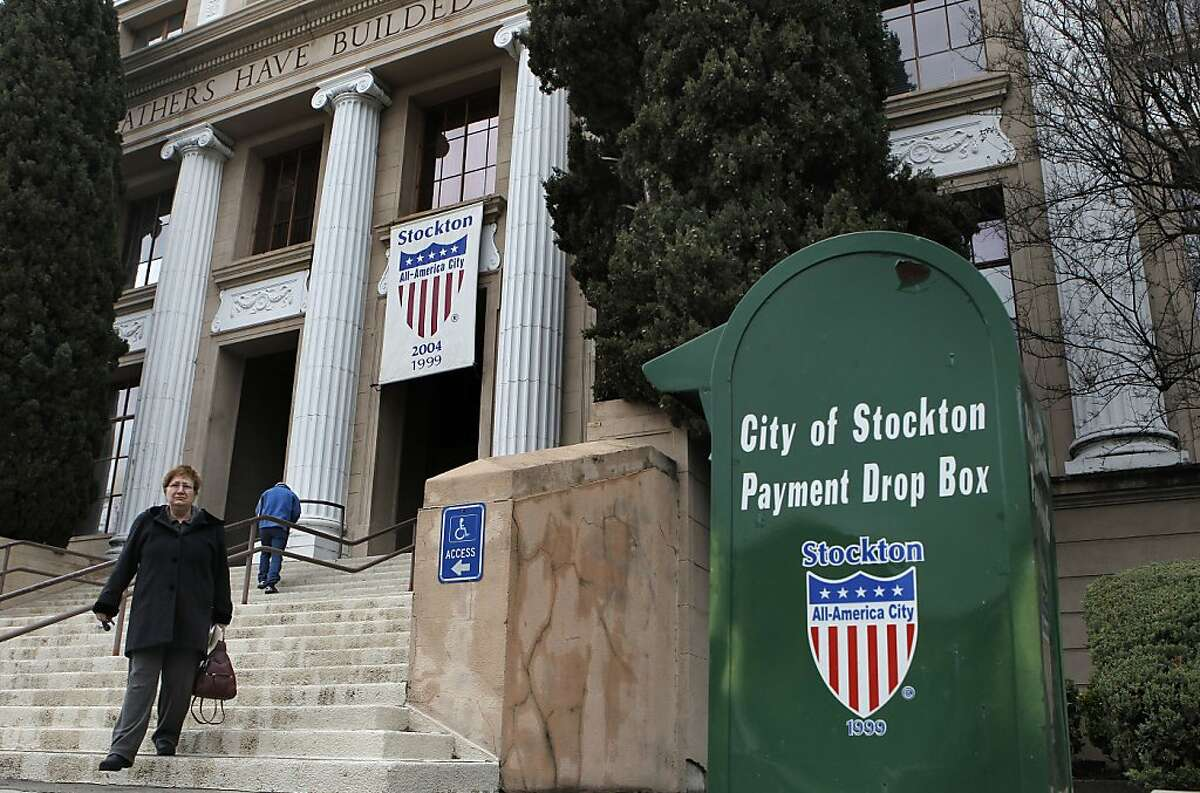 Stockton City Hall, on Thursday Mar. 1, 2012, in Stockton, Ca. The City of Stockton, Ca., could be the largest city in the country to file for bankruptcy after the city council voted Tuesday night to begin mediations with service unions, as required by state law.