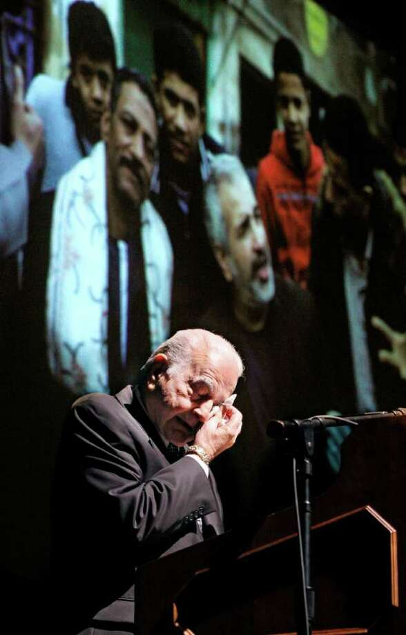 "Buddy Shadid weeps Saturday during a memorial for his son in Oklahoma City. ""I've had nightmares for several years now that somebody would call me and say that Anthony was hurt,"" he told mourners. Photo: Sue Ogrocki / AP"