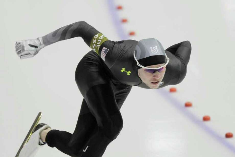 U.S. speedskater Tucker Fredricks took home gold in the 500 meters Saturday at the speedskating World Cup at Thialf arena in Heerenveen, Netherlands. Photo: PETER DEJONG / AP 2012