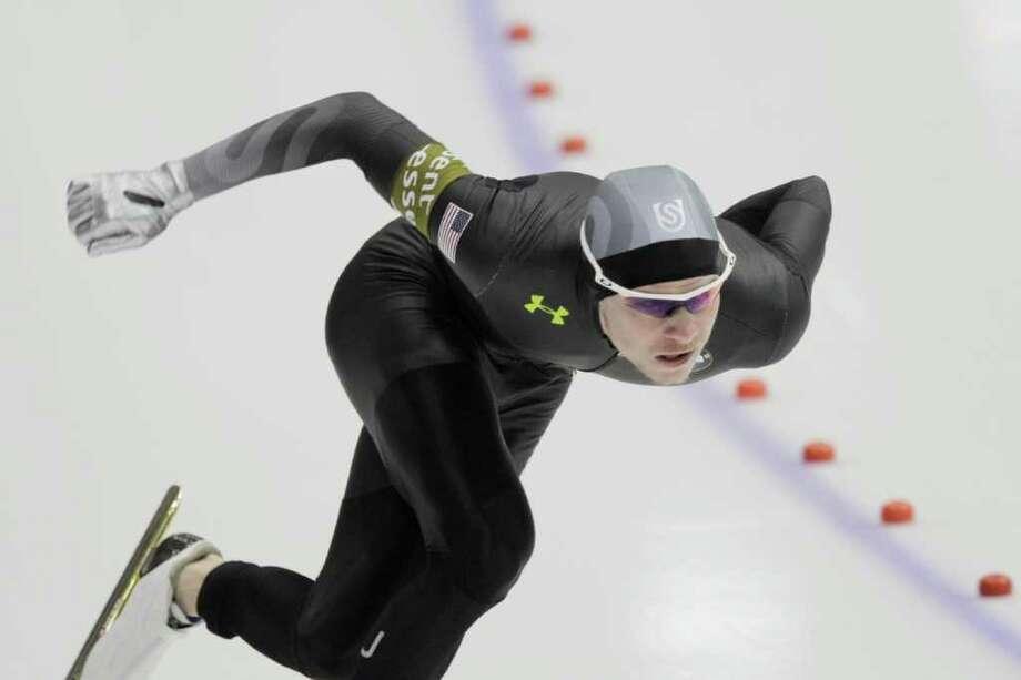 U.S. speedskater Tucker Fredricks took home gold in the 500 meters Saturday at the speedskating World Cup at Thialf arena in Heerenveen, Netherlands. Photo: PETER DEJONG / AP 2012