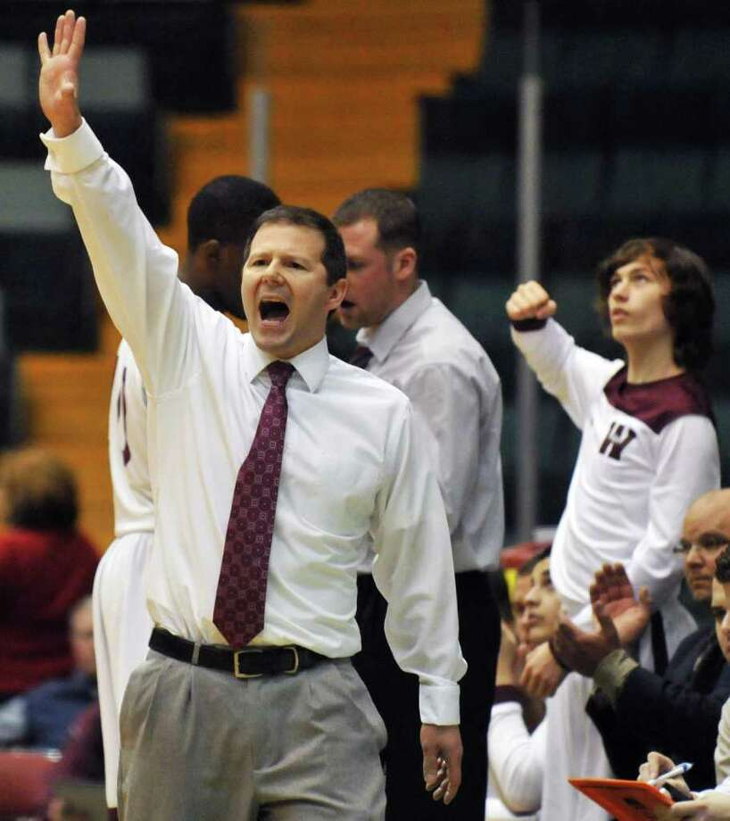 Watervliet coach Orlando BiBaccocalls to his players during the Section II Class B boys' basketball final against Cohoes at the Glens Falls Civic Center Saturday March 3, 2012.   (John Carl D'Annibale / Times Union) Photo: John Carl D'Annibale / 00016626A