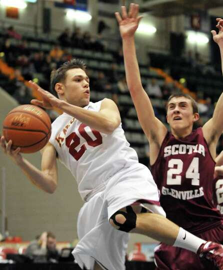 Bishop Gibbons' #20, Imre Megyeri, left, and Scotia's # 24, Joe Cremo during the Section II Class A