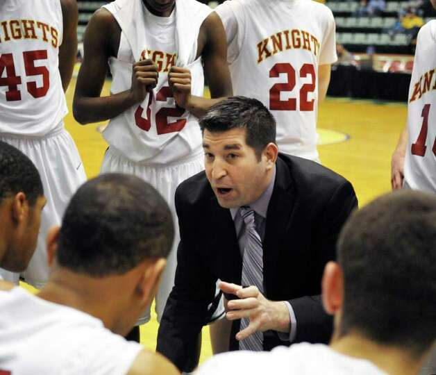 Bishop Gibbons coach Jay Mahoney during the Section II Class A boys' basketball final against Scotia