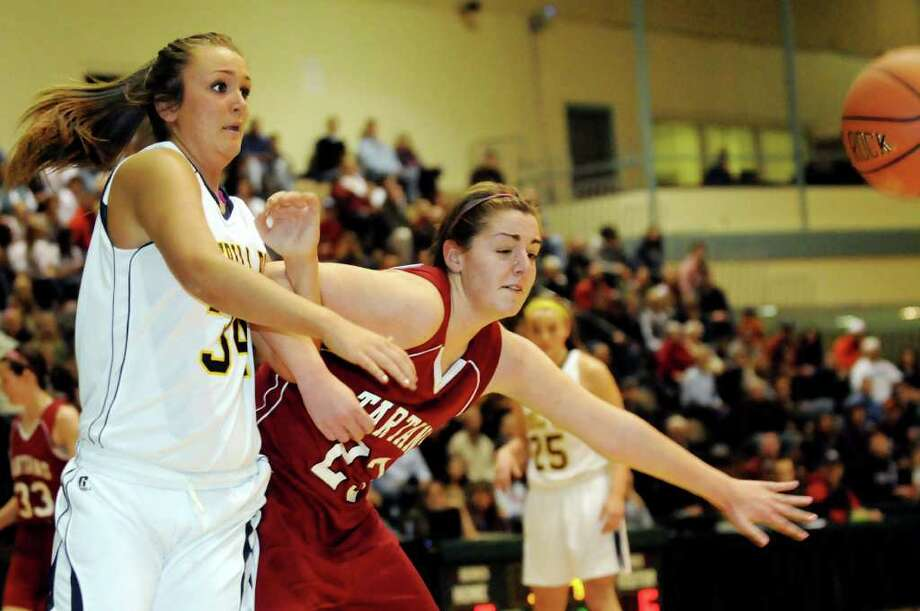Averill Park's Bridget Carney (34), left, and Scotia's Julianna Ferrari (23) go after a loose ball during their Section II Class A basketball game on Saturday, March 3, 2012, at Hudson Valley Community College in Troy, N.Y. (Cindy Schultz / Times Union) Photo: Cindy Schultz / 00016621A