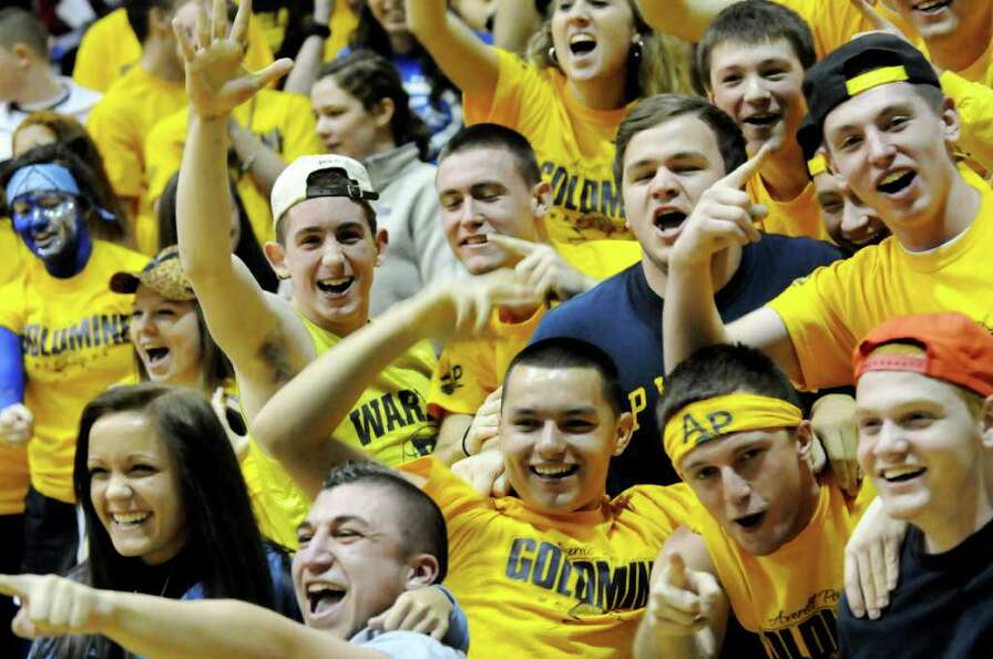 Averill Park's student section cheers for their team during their Section II Class A basketball game