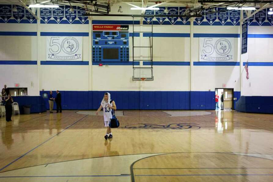 Beren Academy guard Isaac Mirwis walks out of the gym after the Stars loss to Abilene Christian.