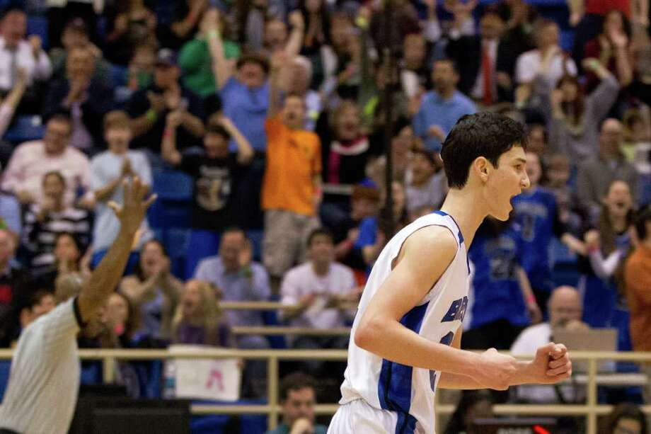 Beren Academy forward Zach Yoshor celebrates after hitting a three-pointer against Abilene Christian. Photo: Smiley N. Pool, Houston Chronicle / © 2012  Houston Chronicle