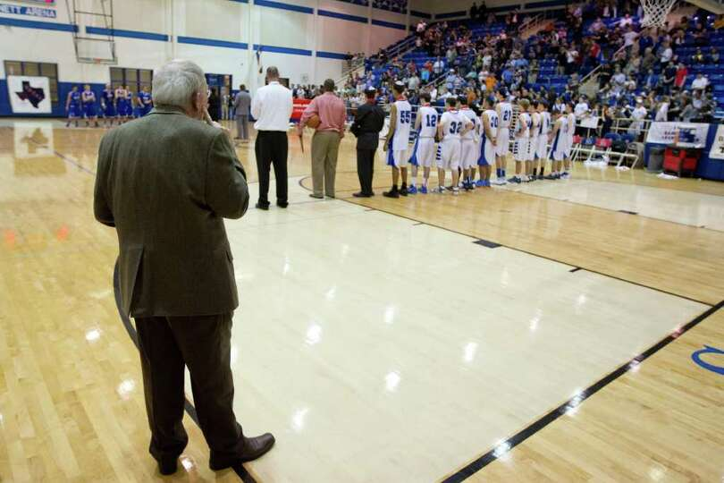 TAPPS director Edd Burleson watches the awards presentations after Abilene Christian defeated Beren