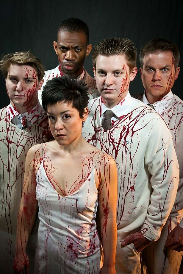 """Tamora, Queen of the Goths (Anna Ishida, center) with her lover Aaron the Moor (Reggie White, rear) and her sons (Mark McDonald, left, Michael Garrett McDonald and Joe Loper) in Impact Theatre's """"Titus Andronicus"""" Photo: Cheshire Isaacs"""